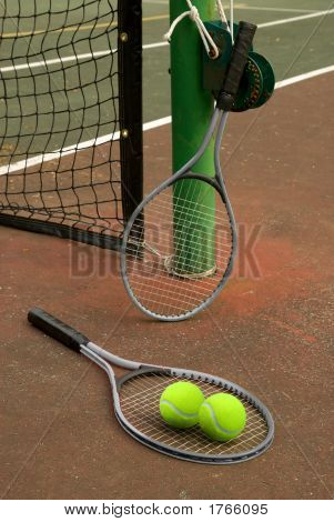 Tennis Court With Balls And Rackets