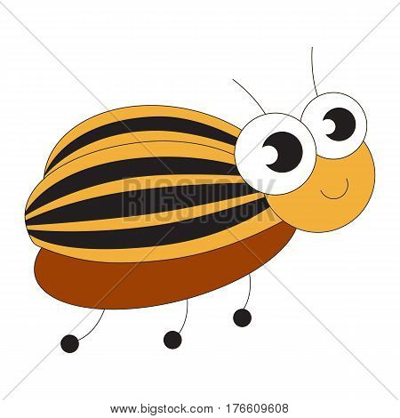 Colorado Potato Beetle cartoon. Outlined character with black stroke.