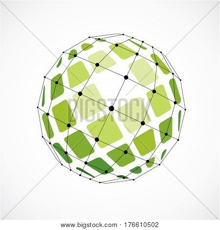 3D Vector Digital Wireframe Spherical Object Made Using Facets. Geometric Polygonal Green Structure