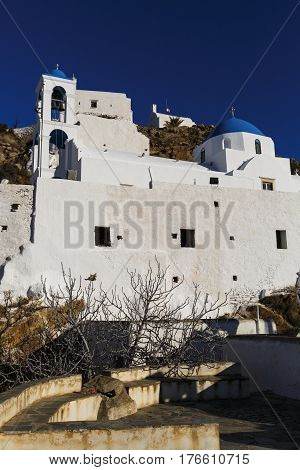 Traditional churches in Chora village on Ios island, Greece.
