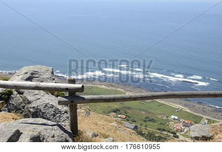 Coastline of the Atlantic Ocean from the mountain of Santa Tecla in Galicia Spain.