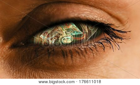 Eye iris with abstract neural network pattern. Futuristic neural dust biotechnology and cyborg concept.