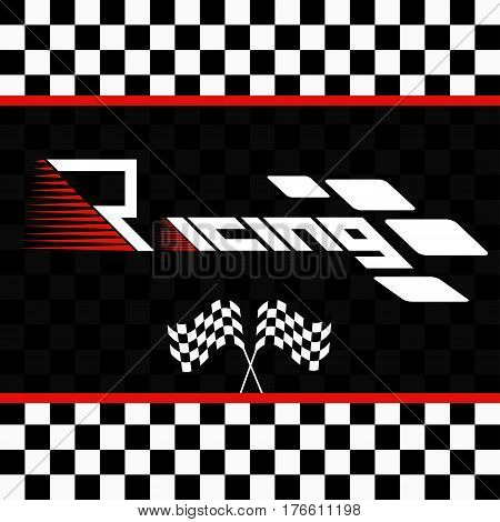 Logo racing championship.  Vector illustration. Racing with checkered flags.