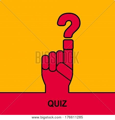 Hand with question mark. Quiz sign icon. Questions  game symbol.