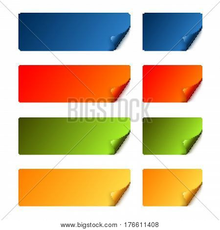Sticker Set With Curved Corner - Colored