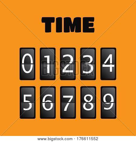 Wall flap counter clock template. Time clock