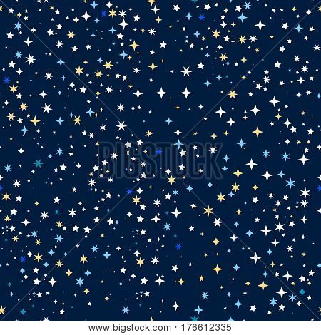 Space stars colored seamless pattern vector background