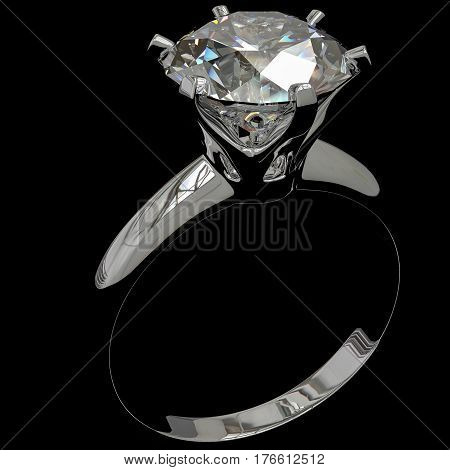 A diamond ring against a black background 3d Illustration.