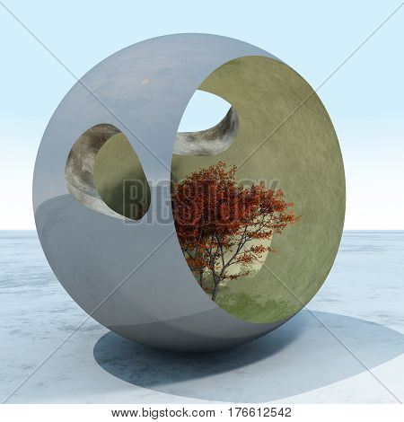 A fall maple tree in a surreal cement art sculpture sphere 3d Illustration.