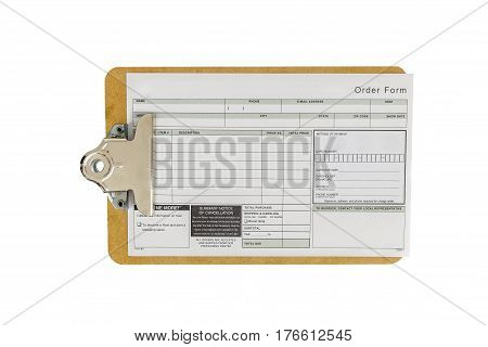 Order form on clip board isolated on white background.