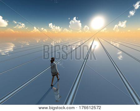 A business woman walking toward future sun on surreal grid plane horizon 3d Illustration.