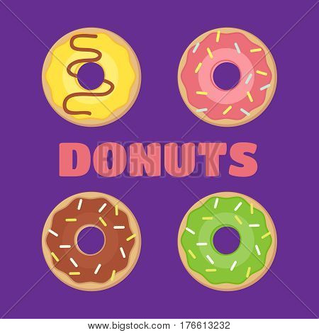 Donut . Donuts flat illustration. Donuts isolated icon