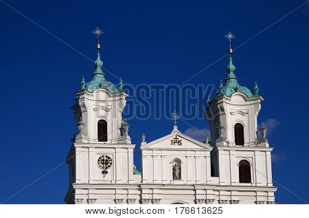 Dome and towers of the Jesuit church - Roman Catholic St. Francis Xavier's cathedral Grodno Belarus.