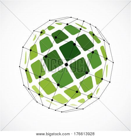 3D Vector Low Poly Spherical Object With Black Connected Lines And Dots, Geometric Green Wireframe S
