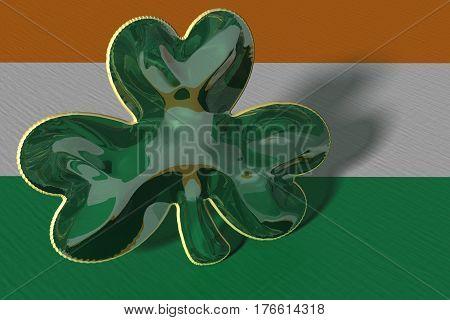 3D Illustration. A shamrock displayed against an Irish flag