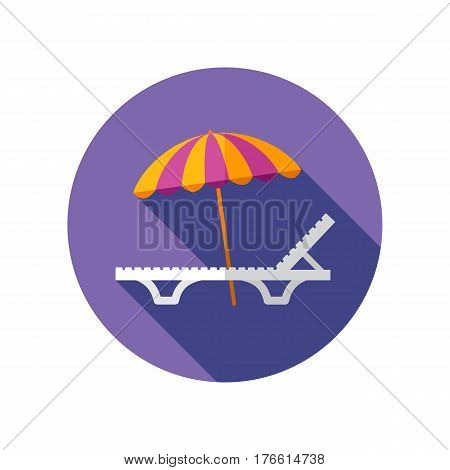 Beach chaise lounge with umbrella vector icon. Summertime. Holiday.  eps 10