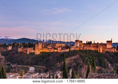Beautiful Alhambra palace, Albacyn and surrounding mountains in Granada, Spain