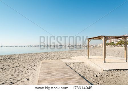 Handicapped access to sandy beach of San Pedro del Pinatar coast, Spain
