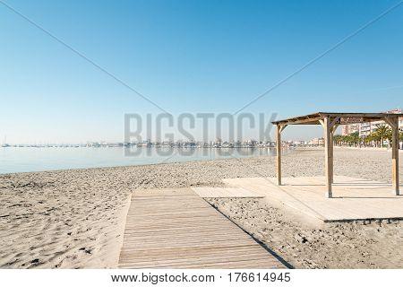 Handicapped access to sandy beach of San Pedro del Pinatar coast, Spain