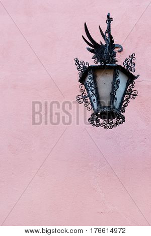 Exquisite street lamp on the old house in historic Albacyn district of Granada