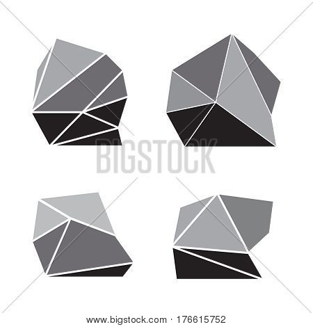 Set of stones rock elements different set