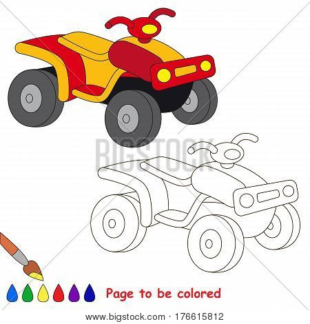 Quad bike to be colored, the coloring book to educate preschool kids with easy kid educational gaming and primary education of simple game level.