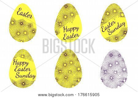 A set of yellow easter eggs decorated with text and ornament. Vector Illustration. Inscription Happy Easter