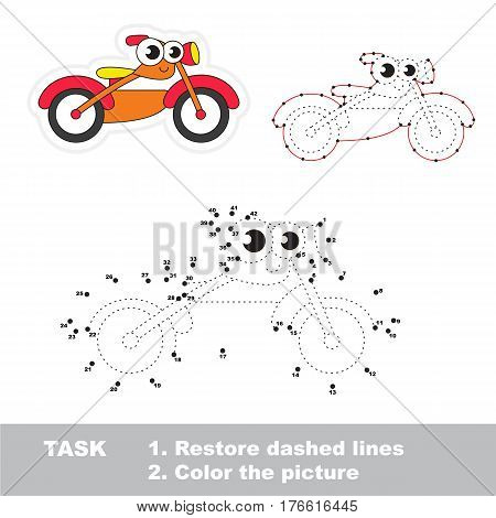 Funny Toy Bike in vector to be traced by numbers, the easy educational kid game with simple game level, the education and gaming for kids, visual game for children.
