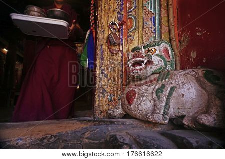 Buddhist Monk in the Ancient Hemis Monastery in the Himalaya Mountains, Leh, Ladakh, Northern India.