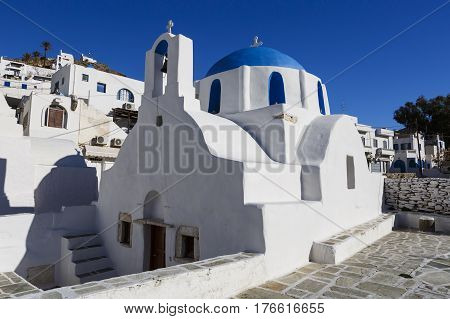 Traditional church in Chora village on Ios island, Greece.