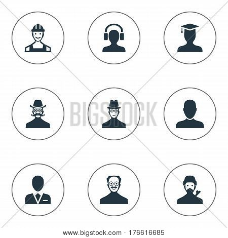 Vector Illustration Set Of Simple Member Icons. Elements Spy, Whiskers Man, Mysterious Man And Other Synonyms Male, Mysterious And Proletarian.