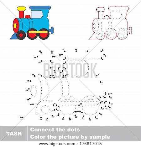 Train Locomotive in vector to be traced by numbers, the easy educational kid game with simple game level, the education and gaming for kids, visual game for children.