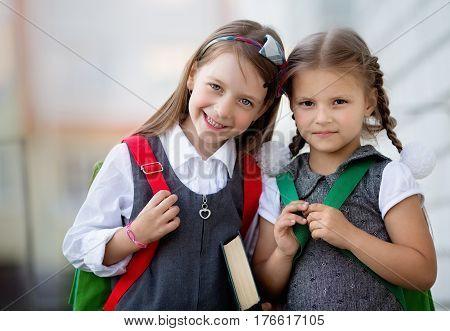 Happy cute schoolgirls are going to school