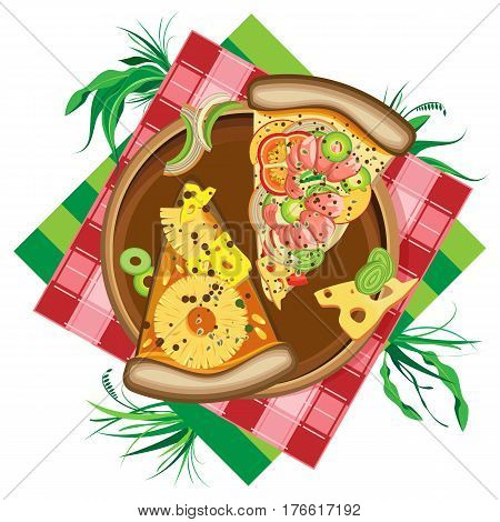Isolated illustration on white background. Vector pizza on a wooden plate lying on colored napkins and grass