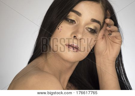 Beautiful Girl. Portrait Of A Girl In Makeup Beauty On A White Background