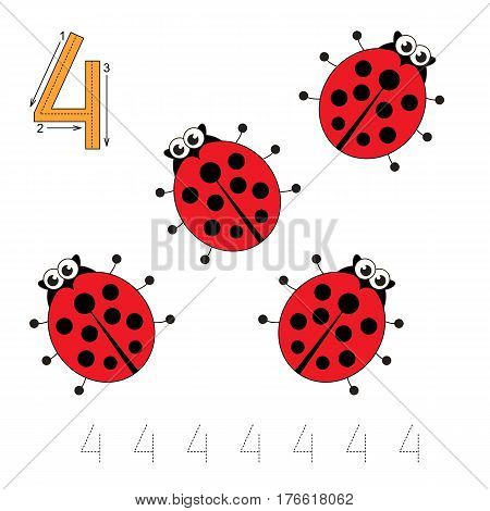 Vector illustrated worksheet. Learn handwriting. Gaming and education. Page to be traced. Easy educational kid game. Simple level. Tracing worksheet for figure Four. Four Ladybugs.