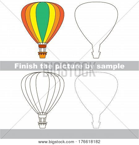 Drawing worksheet for children. Easy educational kid game. Simple level of difficulty. Finish the picture and draw the Balloon