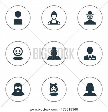 Vector Illustration Set Of Simple Human Icons. Elements Internet Profile, Moustache Man, Proletarian And Other Synonyms Inspector, Profile And Culprit.