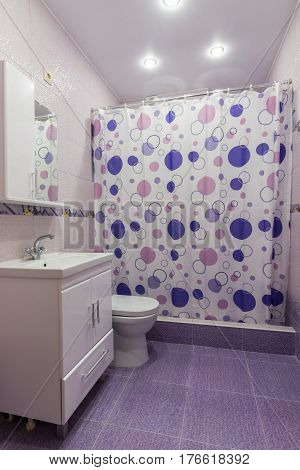 The Interior Of The Bathroom, Room With Dressing Room, Shower Curtain Curtained