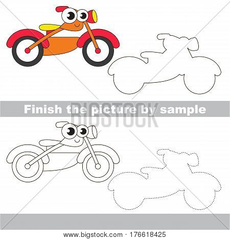 Drawing worksheet for children. Easy educational kid game. Simple level of difficulty. Finish the picture and draw the cute Motorcycle
