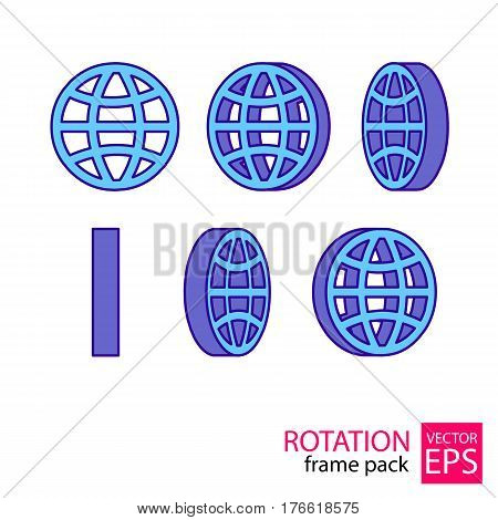 The globe rotating icon set of frames for animation