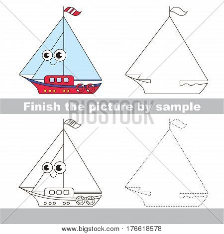 Drawing worksheet for children. Easy educational kid game. Simple level of difficulty. Finish the picture and draw the Funny Boat
