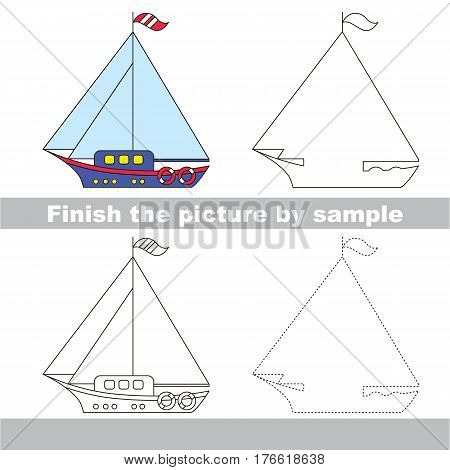 Drawing worksheet for children. Easy educational kid game. Simple level of difficulty. Finish the picture and draw the Yacht