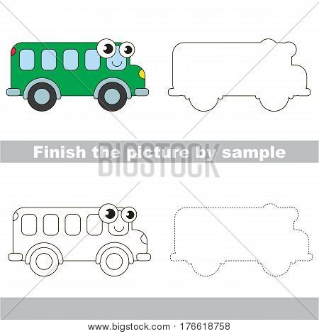 Drawing worksheet for children. Easy educational kid game. Simple level of difficulty. Finish the picture and draw the Funny Van