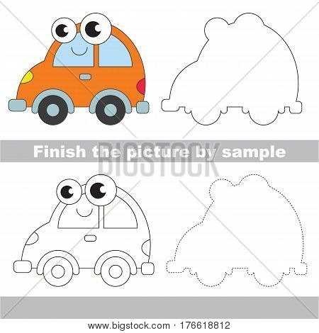 Drawing worksheet for children. Easy educational kid game. Simple level of difficulty. Finish the picture and draw the Funny Car