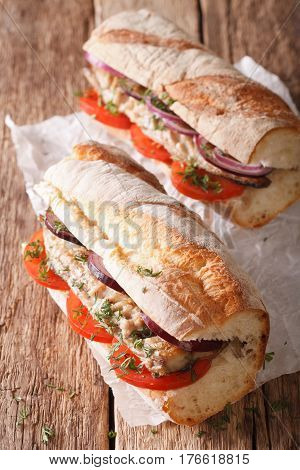 Sandwiches With Fried Mackerel And Vegetables Close-up. Vertical