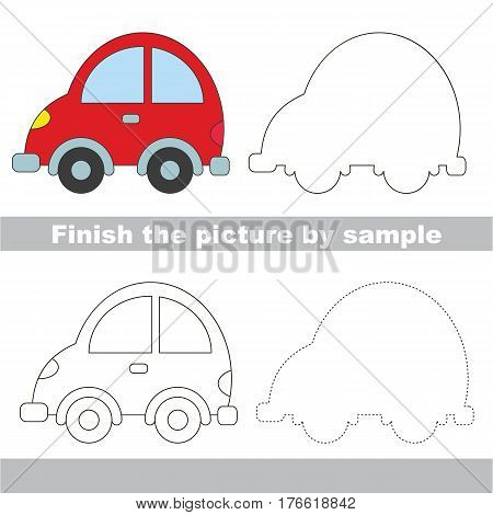 Drawing worksheet for children. Easy educational kid game. Simple level of difficulty. Finish the picture and draw the Car