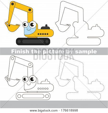 Drawing worksheet for children. Easy educational kid game. Simple level of difficulty. Finish the picture and draw the Funny Excavator.