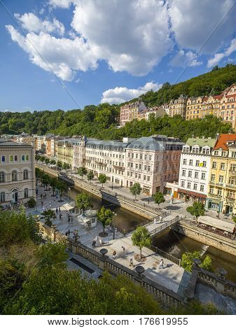 Karlovy Vary Czech republic - August 26 2016: Colorful roof buildings view and Promenade Karlovy Vary Czech republic August 26 2016