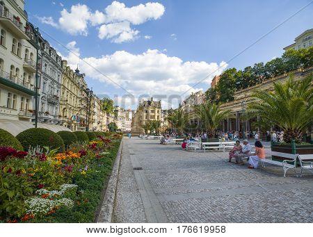 Karlovy Vary Czech republic - July 18 2016: Promenade street in Karlovy Vary Czech republic July 18 2016